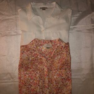 2 Ann Taylor Loft sheer button down shirts